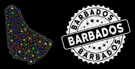 Bright mesh Barbados map with lightspot effect, and seal. Wire frame polygonal Barbados map mesh in vector format on a black background. White round watermark with grunge surface.