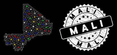 Bright mesh Mali map with glow effect, and seal stamp. Wire carcass polygonal Mali map mesh in vector format on a black background. White round watermark with rubber textures. Ilustração