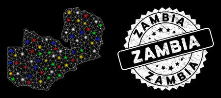 Bright mesh Zambia map with glow effect, and seal stamp. Wire carcass polygonal Zambia map network in vector format on a black background. White round rubber stamp with distress surface.