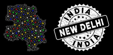 Bright mesh New Delhi City map with glare effect, and seal stamp. Wire carcass polygonal New Delhi City map mesh in vector format on a black background. Ilustrace