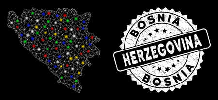 Bright mesh Bosnia and Herzegovina map with glare effect, and seal stamp. Wire carcass triangular Bosnia and Herzegovina map network in vector format on a black background. Illustration