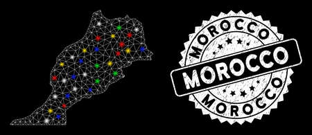 Bright mesh Morocco map with lightspot effect, and stamp. Wire carcass polygonal Morocco map network in vector format on a black background. White round seal stamp with distress textures.