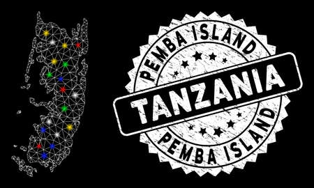 Bright mesh Pemba island map with lightspot effect, and seal stamp. Wire frame polygonal Pemba island map mesh in vector format on a black background. White round stamp with scratched texture.