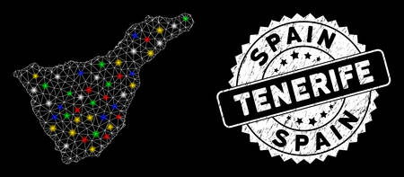 Bright mesh Tenerife Spain Island map with glare effect, and seal stamp. Wire frame polygonal Tenerife Spain Island map network in vector format on a black background.