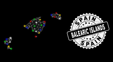 Bright mesh Balearic Islands map with lightspot effect, and stamp. Wire carcass triangular Balearic Islands map mesh in vector format on a black background. White round stamp with corroded surface.