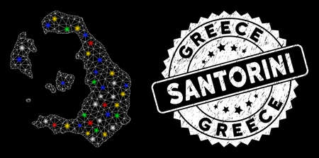 Bright mesh Santorini Island map with lightspot effect, and stamp. Wire carcass triangular Santorini Island map mesh in vector format on a black background. White round seal with dirty textures.