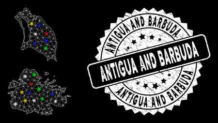 Bright mesh Antigua and Barbuda map with glare effect, and rubber print. Wire frame triangular Antigua and Barbuda map network in vector format on a black background.