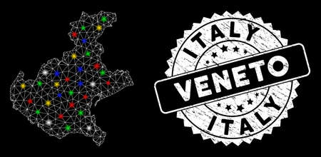 Bright mesh Veneto region map with lightspot effect, and seal. Wire carcass triangular Veneto region map mesh in vector format on a black background. White round seal stamp with distress texture. 向量圖像