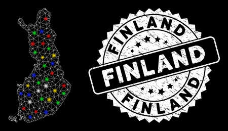 Bright mesh Finland map with lightspot effect, and stamp. Wire frame polygonal Finland map mesh in vector format on a black background. White round rubber stamp with distress texture.