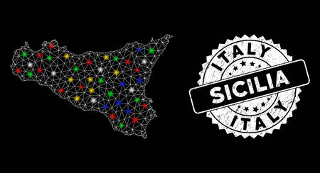 Bright mesh Sicilia map with lightspot effect, and seal stamp. Wire frame triangular Sicilia map network in vector format on a black background. White round rubber seal with distress texture.