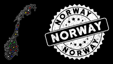 Bright mesh Norway map with glare effect, and seal stamp. Wire frame triangular Norway map mesh in vector format on a black background. White round rubber stamp with dirty surface.