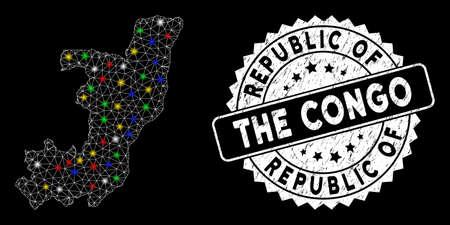Bright mesh Republic of the Congo map with glare effect, and seal. Wire carcass polygonal Republic of the Congo map mesh in vector format on a black background. Vektoros illusztráció