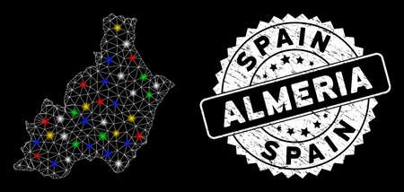 Bright mesh Almeria Province map with glare effect, and rubber print. Wire frame polygonal Almeria Province map mesh in vector format on a black background. Illusztráció