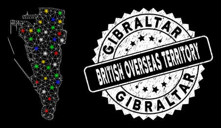 Bright mesh Gibraltar map with glare effect, and watermark. Wire carcass polygonal Gibraltar map mesh in vector format on a black background. White round stamp with distress texture.
