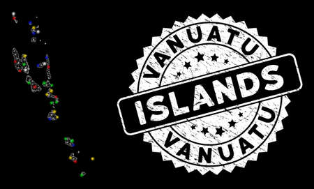 Bright mesh Vanuatu Islands map with glow effect, and seal stamp. Wire carcass polygonal Vanuatu Islands map network in vector format on a black background. Illusztráció