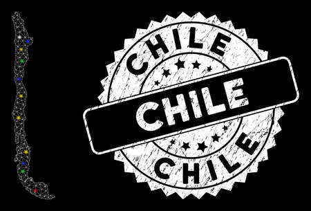 Bright mesh Chile map with lightspot effect, and stamp. Wire frame polygonal Chile map mesh in vector format on a black background. White round rubber stamp with grunge surface. Illusztráció