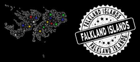 Bright mesh Falkland Islands map with lightspot effect, and watermark. Wire frame triangular Falkland Islands map mesh in vector format on a black background. White round stamp with grunge surface. Illusztráció
