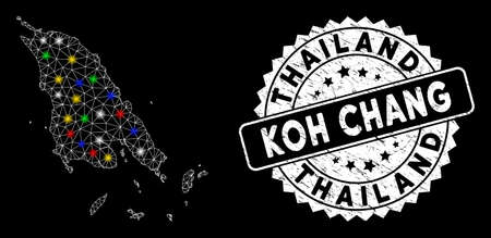 Bright mesh Koh Chang map with glow effect, and rubber print. Wire frame polygonal Koh Chang map mesh in vector format on a black background. White round seal stamp with distress textures.