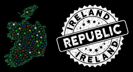 Bright mesh Ireland Republic map with glare effect, and watermark. Wire carcass triangular Ireland Republic map mesh in vector format on a black background. White round seal with distress textures.
