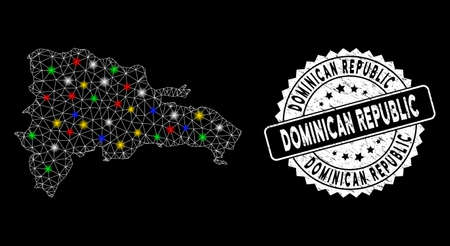 Bright mesh Dominican Republic map with glare effect, and seal stamp. Wire carcass polygonal Dominican Republic map mesh in vector format on a black background. Vektoros illusztráció