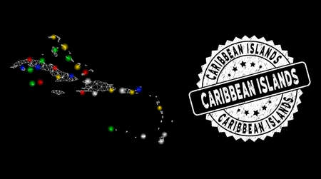 Bright mesh Caribbean Islands map with glare effect, and seal. Wire carcass polygonal Caribbean Islands map mesh in vector format on a black background. White round rubber seal with grunge texture.