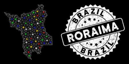 Bright mesh Roraima State map with glow effect, and stamp. Wire carcass polygonal Roraima State map mesh in vector format on a black background. White round seal stamp with dirty texture. Illusztráció