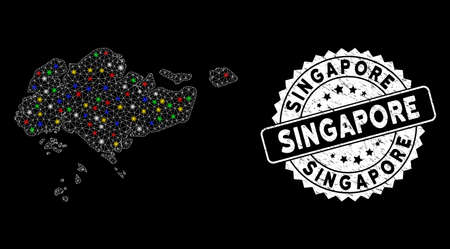 Bright mesh Singapore map with lightspot effect, and watermark. Wire carcass triangular Singapore map mesh in vector format on a black background. White round stamp with corroded texture. Illusztráció