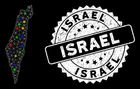 Bright mesh Israel map with glare effect, and rubber print. Wire frame triangular Israel map mesh in vector format on a black background. White round rubber stamp with grunge textures.