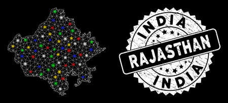 Bright mesh Rajasthan State map with glare effect, and seal stamp. Wire carcass polygonal Rajasthan State map mesh in vector format on a black background.