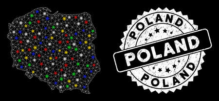 Bright mesh Poland map with glare effect, and watermark. Wire frame polygonal Poland map mesh in vector format on a black background. White round seal with grunged texture. Illusztráció