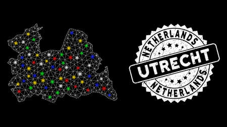 Bright mesh Utrecht Province map with lightspot effect, and stamp. Wire carcass polygonal Utrecht Province map mesh in vector format on a black background.