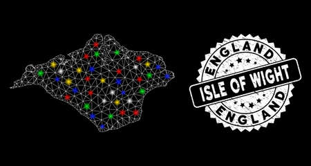 Bright mesh Isle of Wight map with lightspot effect, and seal stamp. Wire carcass triangular Isle of Wight map mesh in vector format on a black background. White round seal stamp with grunge texture.