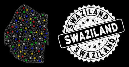 Bright mesh Swaziland map with glare effect, and seal. Wire frame triangular Swaziland map mesh in vector format on a black background. White round rubber stamp with rubber surface.