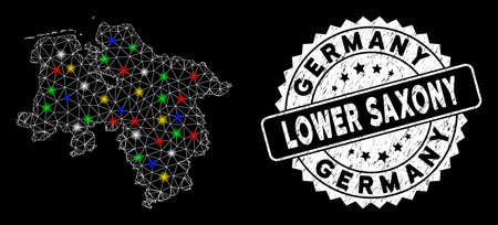Bright mesh Lower Saxony Land map with glare effect, and stamp. Wire carcass polygonal Lower Saxony Land map mesh in vector format on a black background. White round seal stamp with grunged texture. Illusztráció