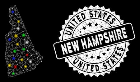 Bright mesh New Hampshire State map with lightspot effect, and rubber print. Wire carcass triangular New Hampshire State map mesh in vector format on a black background. Vektoros illusztráció