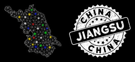 Bright mesh Jiangsu Province map with glow effect, and seal stamp. Wire frame polygonal Jiangsu Province map mesh in vector format on a black background. White round rubber seal with rubber surface.