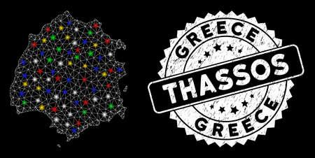 Bright mesh Thassos Greek Island map with glare effect, and watermark. Wire frame triangular Thassos Greek Island map mesh in vector format on a black background. Illusztráció