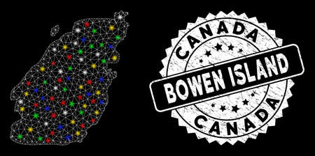 Bright mesh Bowen Island map with glare effect, and seal stamp. Wire frame triangular Bowen Island map mesh in vector format on a black background. White round rubber stamp with rubber surface.