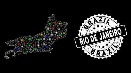 Bright mesh Rio de Janeiro State map with lightspot effect, and seal stamp. Wire frame triangular Rio de Janeiro State map network in vector format on a black background.
