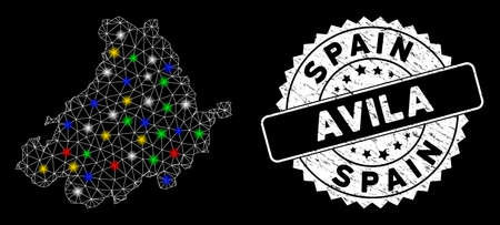Bright mesh Avila Province map with lightspot effect, and stamp. Wire carcass triangular Avila Province map mesh in vector format on a black background. White round stamp with grunged texture. Illusztráció