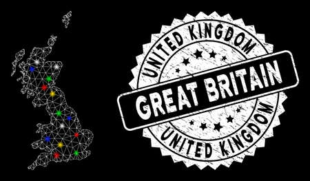 Bright mesh Great Britain map with glow effect, and seal. Wire frame polygonal Great Britain map mesh in vector format on a black background. White round rubber seal with scratched surface.