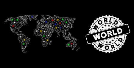 Bright mesh world map with glare effect, and seal stamp. Wire carcass polygonal world map network in vector format on a black background. White round stamp imprint with grunge surface.