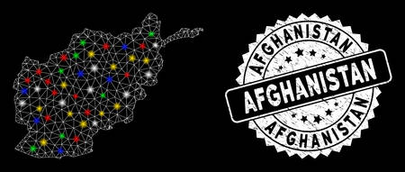 Bright mesh Afghanistan map with glare effect, and stamp. Wire carcass triangular Afghanistan map mesh in vector format on a black background. White round stamp with corroded surface.