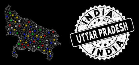 Bright mesh Uttar Pradesh State map with glow effect, and watermark. Wire frame polygonal Uttar Pradesh State map network in vector format on a black background. Illusztráció