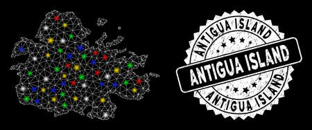 Bright mesh Antigua Island map with glow effect, and stamp. Wire carcass triangular Antigua Island map mesh in vector format on a black background. White round stamp with distress surface. Illustration
