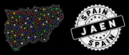 Bright mesh Jaen Spanish Province map with lightspot effect, and watermark. Wire carcass triangular Jaen Spanish Province map network in vector format on a black background.