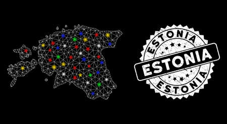 Bright mesh Estonia map with lightspot effect, and watermark. Wire carcass polygonal Estonia map mesh in vector format on a black background. White round watermark with scratched surface.