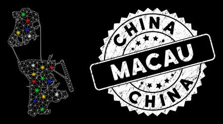Bright mesh China Macau map with lightspot effect, and seal. Wire carcass triangular China Macau map mesh in vector format on a black background. White round watermark with dirty surface. Illusztráció