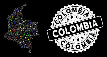 Bright mesh Colombia map with glare effect, and seal stamp. Wire carcass polygonal Colombia map mesh in vector format on a black background. White round seal stamp with dirty surface.