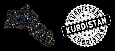 Bright mesh Kurdistan map with glare effect, and rubber print. Wire frame polygonal Kurdistan map network in vector format on a black background. White round rubber stamp with distress texture. Illusztráció